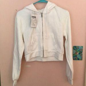 Brandy Melville white cropped sweatshirt
